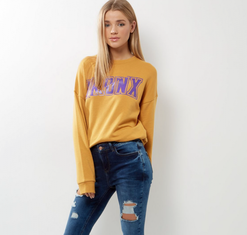 Yellow Colour Block Jumper