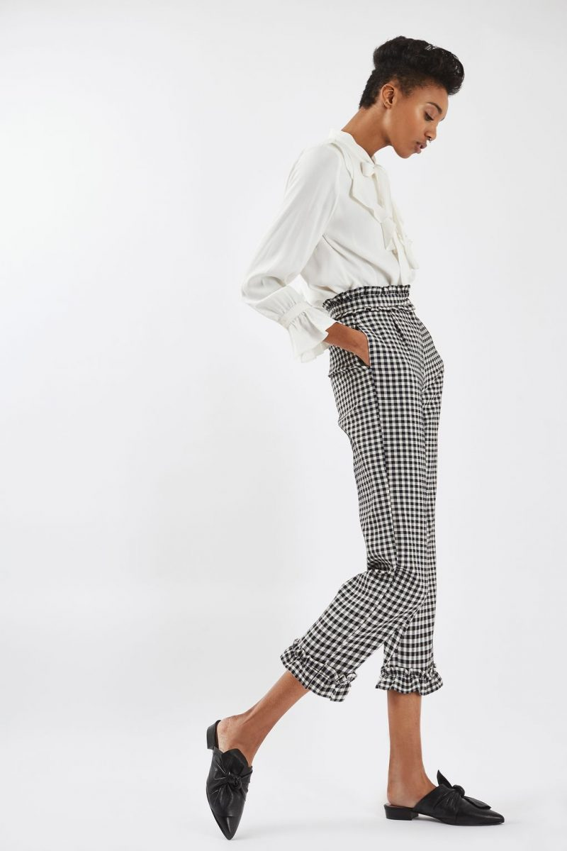 Gingham Print Trousers Topshop