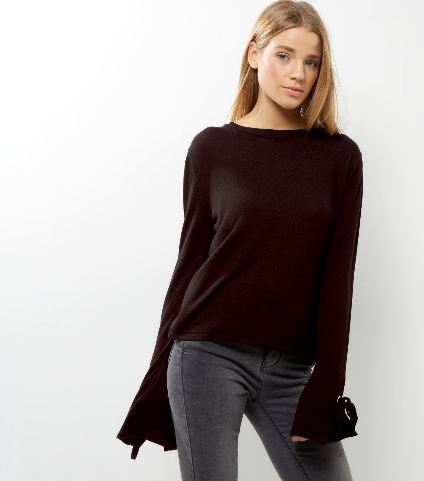 New Look Black Tie Sleeve Jumper