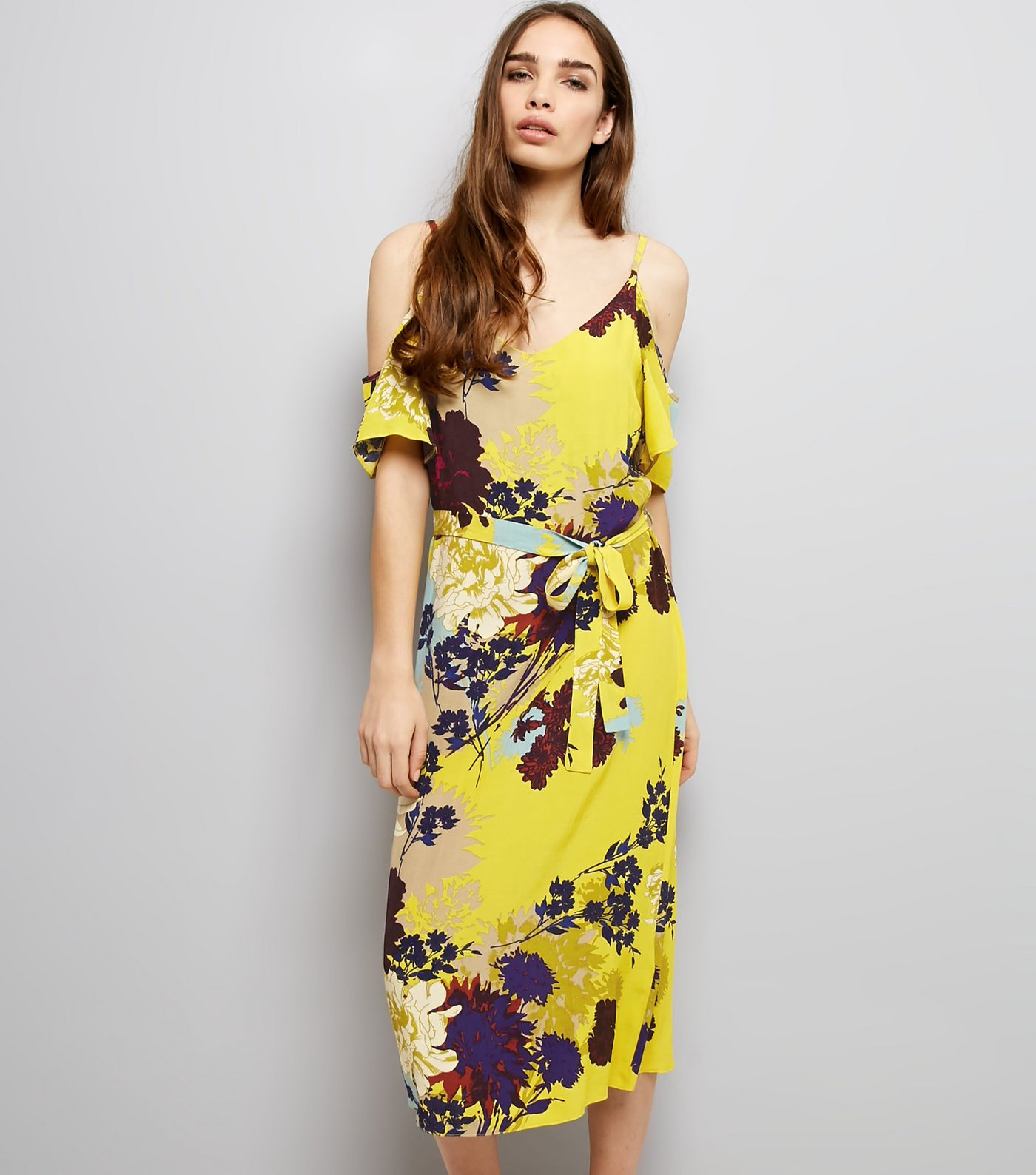 Yellow Floral Print Dress New Look