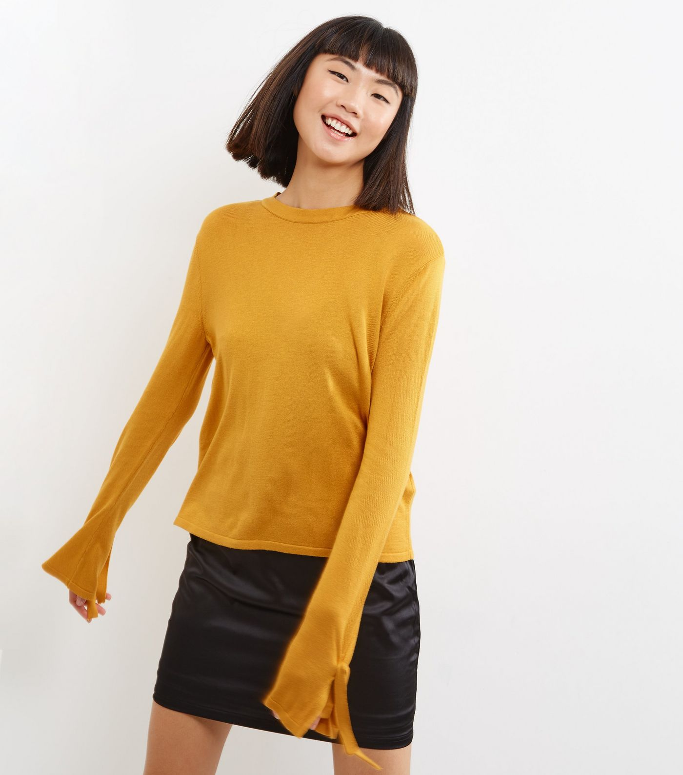 New Look Yellow Tie Sleeve Jumper